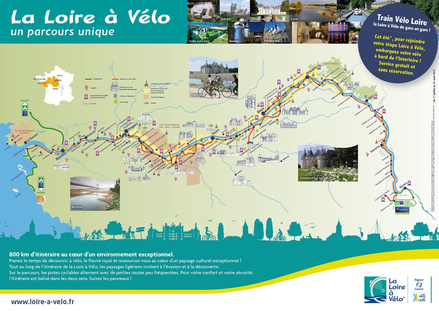 Castillos Del Loira Mapa.Los Castillos Del Valle Del Loira En Bicicleta La Loire A